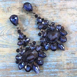 Cherryl's Jewelry - Navy Blue Crystal Chandelier Event Earrings